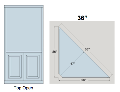 "AWB 3-Sided Corner Cupboard with Open Top (-3CC1) 36""W x 78""H x 17""D inside"