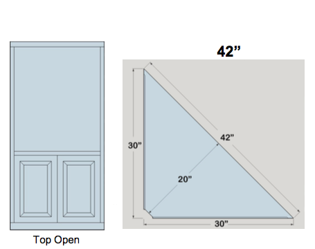 "AWB 3-Sided Corner Cupboard with Open Top (-3CC1) 42""W x 72""H x 20""D inside"