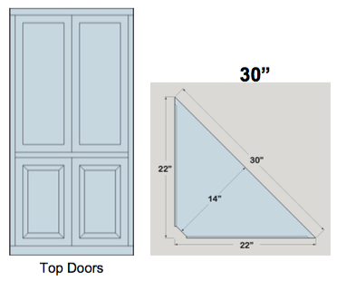 "AWB 3-Sided Corner Cupboard with Top Doors (-3CC2) 30""W x 84""H x 14""D inside"