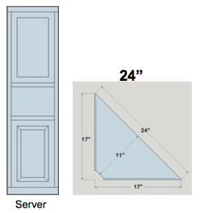 "AWB 3-Sided Corner Cupboard with Top Doors and Server Shelf (-3CC3) 24""W x 72""H x 11""D inside"
