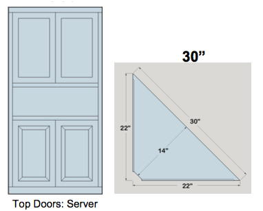 "AWB 3-Sided Corner Cupboard with Top Doors and Server Shelf (-3CC3) 30""W x 72""H x 14""D inside"