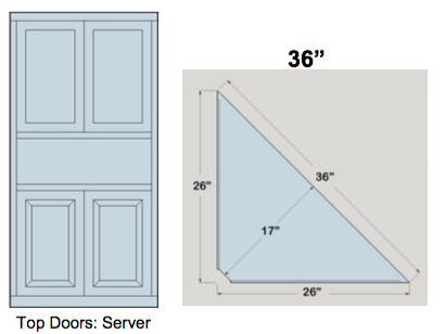 "AWB 3-Sided Corner Cupboard with Top Doors and Server Shelf (-3CC3) 36""W x 78""H x 17""D inside"