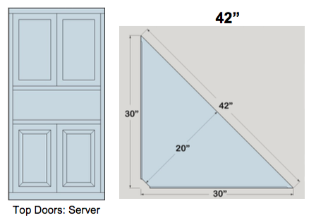 "AWB 3-Sided Corner Cupboard with Top Doors and Server Shelf (-3CC3) 42""W x 72""H x 20""D inside"