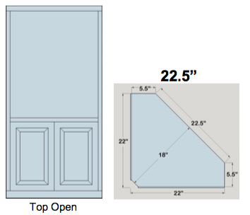 "AWB 5-Sided Corner Cupboard with Open Top (-5CC1) 22.5""W x 72""H x 5.5""D inside"