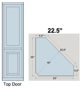 "AWB 5-Sided Corner Cupboard with Open Top (-5CC2) 22.5""W x 72""H x 5.5""side depth"