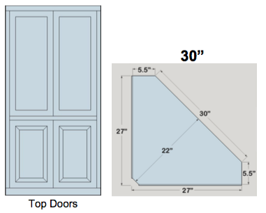 "AWB 5-Sided Corner Cupboard with Top Doors (-5CC2) 30""W x 78""H x 5.5""D inside"