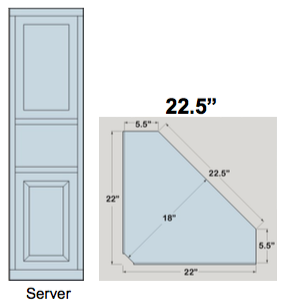 "AWB 5-Sided Corner Cupboard with Top Doors and Server Shelf (-5CC3) 22.5""W x 84""H x 5.5""D inside"