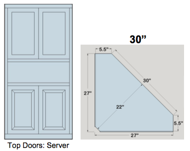 "AWB 5-Sided Corner Cupboard with Top Doors and Server Shelf (-5CC3) 30""W x 72""H x 5.5""D inside"