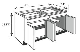 """B48: Kitchen Base Cabinet, 48""""w x 34 1/2""""h x 24""""d"""