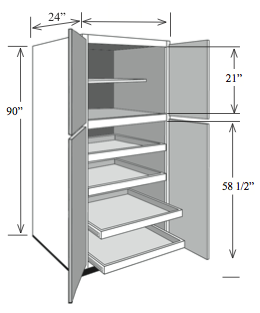 Bbcp3084 kitchen base pantry cabinet 30 w x 84 h x 24 d for Kitchen cabinets 30 x 24