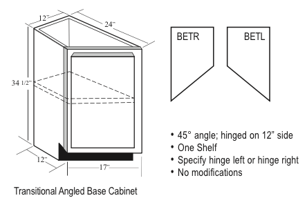 Bet12 Kitchen Angled Base Cabinet Transitional 12 Quot W