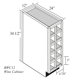 "BWC12: Kitchen Wine Cubby Base Cabinet, 12""W x 34-1/2""H x 24""D"