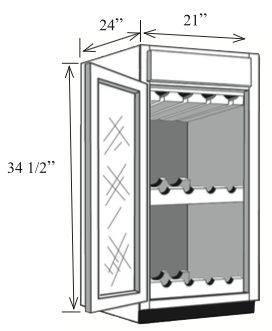 "BWC21: Kitchen Base Wine Cabinet, 21""w x 34 1/2""h x 24""d"