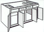 "B54: Kitchen Base Cabinet, 54""w x 34 1/2""h x 24""d"