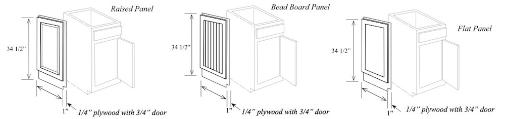 """MEP1: Matching End Panel for Base Cabinet, 24""""W x 34-1/2""""H x 3/4"""" Thick"""
