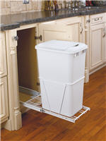 Trash Bin, Single 50-Quart Pull-Out with Lid and Full-Extension Slides (White)