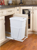Trash Bin, Single 35-Quart Pull-Out with Lid and Full-Extension Slides (White)