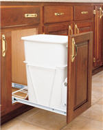 Trash Bin, Single 35-Quart Pull-Out with Full-Extension Slides (White)