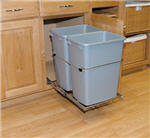Trash Bin, Double 35-Quart Pull-Out with Full-Extension Slides (Silver Bin & Chrome Frame)