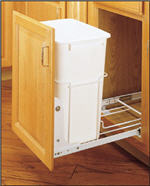 Trash Bin, Single 35-Quart Pull-Out with 3/4-Extension Slides (White)