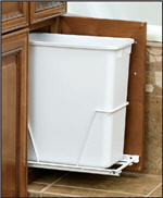 Trash Bin, Single 20-Quart Pull-Out with 3/4-Extension Slides (White)