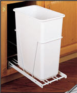 Trash Bin, Single 30-Quart Pull-Out with 3/4-Extension Slides (White)