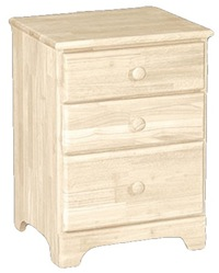 Classic Bedroom, Three Drawer Nightstand