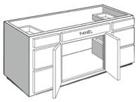"VEB54: Vanity Combination Cabinet, 54""w x 31""h x 21""d"