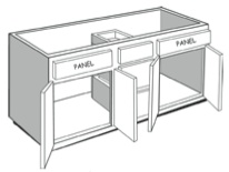 "VEM54: Vanity Combination Cabinet, 54""w x 31""h x 21""d"