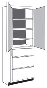 "VLD1884: Vanity Linen Closet with Drawers, 18""w x 84""h x 21""d"