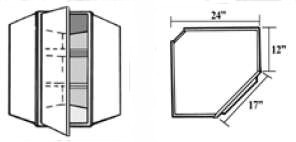 Wcr2430 Kitchen Corner Diagonal Wall Cabinet