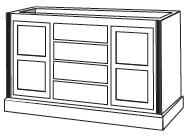 "WC_2H5102: Fluted Kitchen Island, 58-1/2""W x 35-1/2""H x 23-1/4""D"