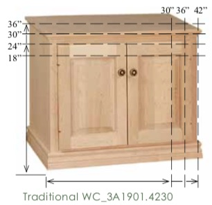 "WC_3A1901: Traditional Semi-Custom TV Stand, 2 doors, 1 adjustable shelf for 24-36""H models (none for 18""H model), 17""D"