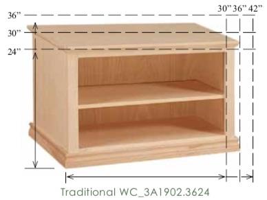 "WC_3A1902: Traditional Semi-Custom Cabinet, 1 adjustable shelf for 24-30""H models (2 shelves for 36""H model), 17""D"
