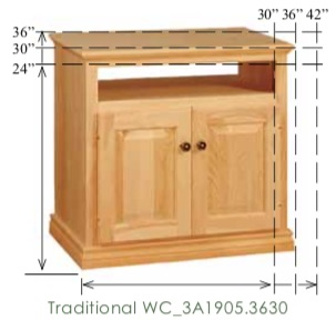 "WC_3A1905: Traditional Semi-Custom TV Stand, 2 doors with top opening, 1 adjustable shelf for 30-36""H models (none for 24""H model), 17""D"