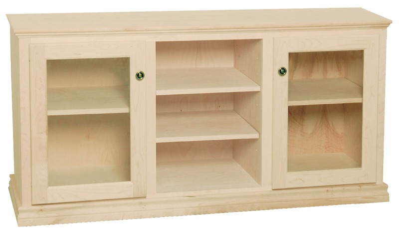 """WC_3A1909: Traditional Semi-Custom Entertainment Stand, 3 Sections, 2 Glass Doors, 17""""D"""