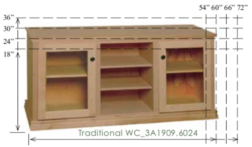 "WC_3A1909: Traditional Semi-Custom Entertainment Stand, 3 Sections, 2 Glass Doors, 17""D"