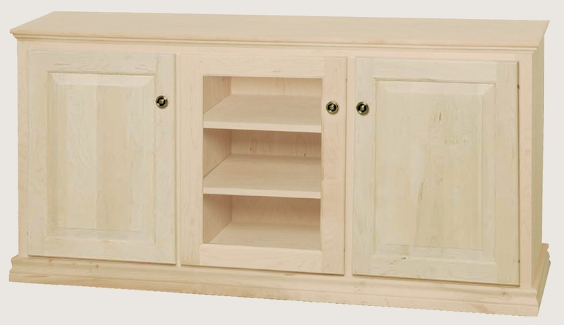"""WC_3A1910: Traditional Semi-Custom Entertainment Stand, 3 Sections, 2 Raised-Panel & 1 Glass Door, 17""""D"""