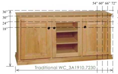 "WC_3A1910: Traditional Semi-Custom Entertainment Stand, 3 Sections, 2 Raised-Panel & 1 Glass Door, 17""D"