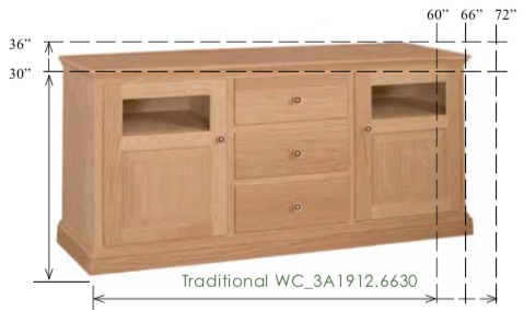 "WC_3A1912: Traditional Semi-Custom Entertainment Stand, 3 Sections, 2 Doors, 3 Drawers, 2 adjustable shelves, 17""D"