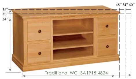 "WC_3A1915: Traditional Semi-Custom Entertainment Stand, 3 Sections, 6 Drawers for 30-36""H models, 4 Drawers for 24""H model, 2 adjustable shelves for 30-36""H models (1 for 24""H model), 17""D"