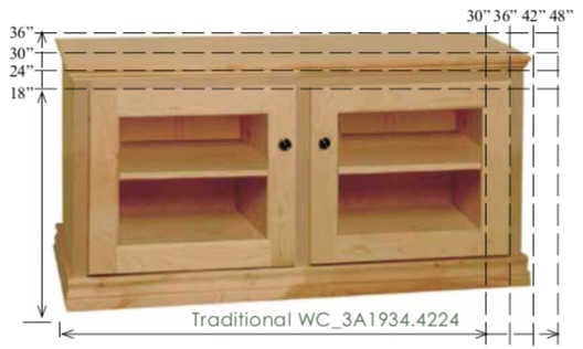 "WC_3A1934: Traditional Semi-Custom Entertainment Stand, 2 Sections,  2 Glass Doors, 17""D"