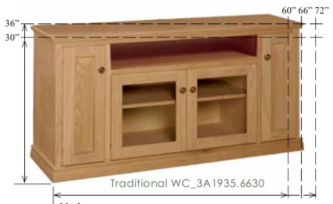 "WC_3A1935: Traditional Semi-Custom Entertainment Stand, 3 Sections, 2 Raised-Panel Doors, 2 Glass Doors, 1 opening, 1 adjustable shelf, 17""D"