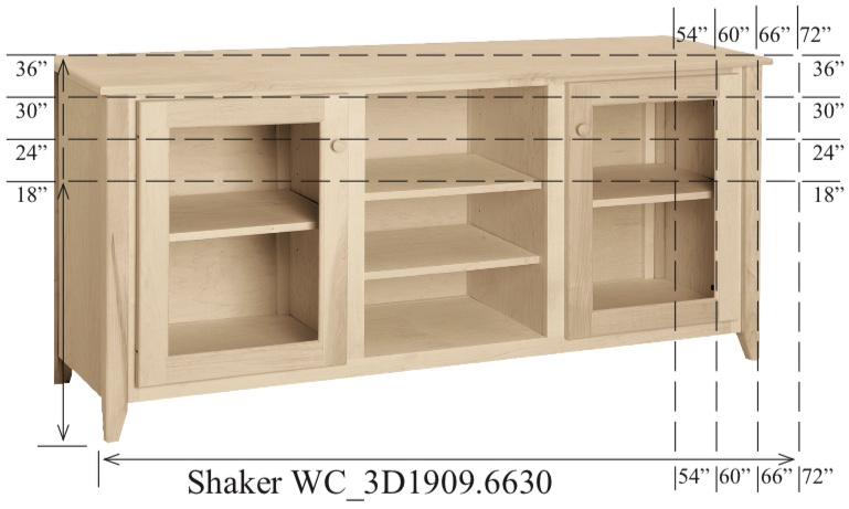 "WC_3D1909: Shaker Semi-Custom Entertainment Stand, 3 Sections, 2 Glass Doors, 17""D"