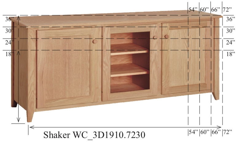 "WC_3D1910: Shaker Semi-Custom Entertainment Stand, 3 Sections, 2 Flat-Panel & 1 Glass Door, 17""D"