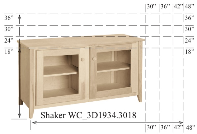 "WC_3D1934: Shaker Semi-Custom Entertainment Stand, 2 Sections, 2 Glass Doors, 17""D"