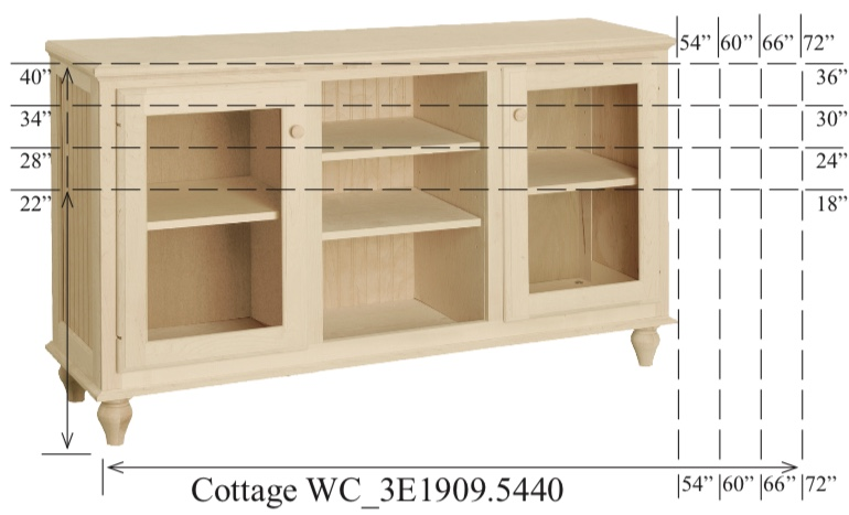 """WC_3E1909: Cottage Semi-Custom Entertainment Stand, 3 Sections, 2 Glass Doors, 17""""D"""