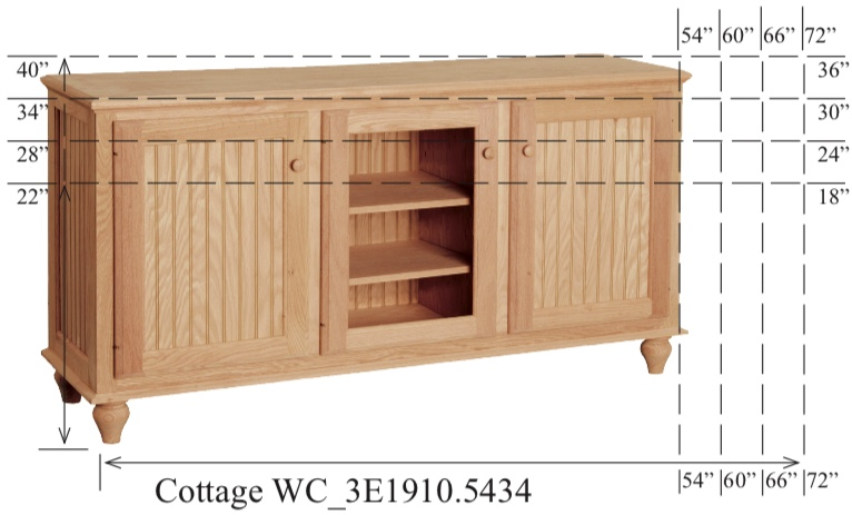 """WC_3E1910: Cottage Semi-Custom Entertainment Stand, 3 Sections, 2 Beadboard & 1 Glass Door, 17""""D"""