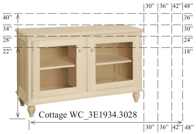 """WC_3E1934: Cottage Semi-Custom Entertainment Stand, 2 Sections, 2 Glass Doors, 17""""D"""