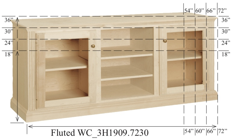 "WC_3H1909: Fluted Semi-Custom Entertainment Stand, 3 Sections,  2 Glass Doors, 17""D"